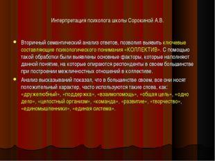 Интерпретация психолога школы Сорокиной А.В. Вторичный семантический анализ о
