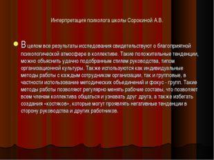 Интерпретация психолога школы Сорокиной А.В. В целом все результаты исследова