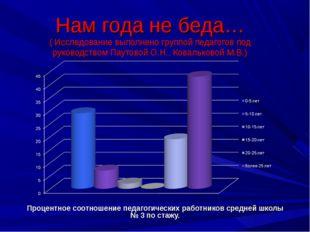Нам года не беда… ( Исследование выполнено группой педагогов под руководством
