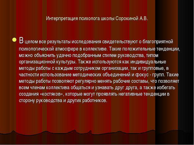 Интерпретация психолога школы Сорокиной А.В. В целом все результаты исследова...