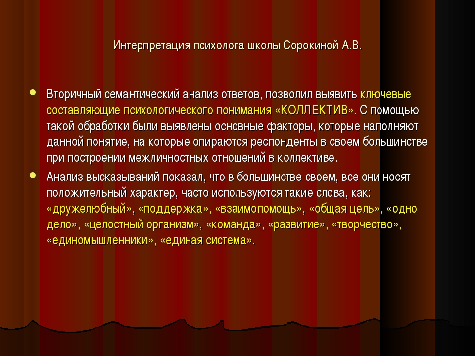 Интерпретация психолога школы Сорокиной А.В. Вторичный семантический анализ о...