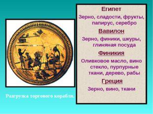 Разгрузка торгового корабля. Египет Зерно, сладости, фрукты, папирус, серебро