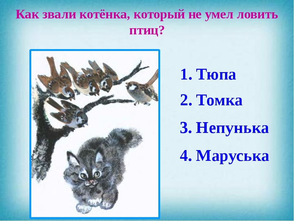 Как звали котёнка, который не умел ловить птиц? 4. Маруська 3. Непунька 2. То...