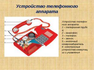 Устройство телефонного аппарата Устройствотелефонногоаппарата: 1–телефонн
