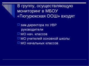 В группу, осуществляющую мониторинг в МБОУ «Тюгурюкская ООШ» входят зам.дирек