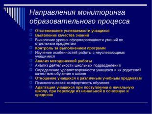 Направления мониторинга образовательного процесса Отслеживание успеваемости у