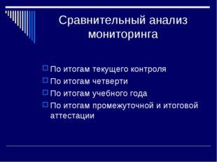 Сравнительный анализ мониторинга По итогам текущего контроля По итогам четвер