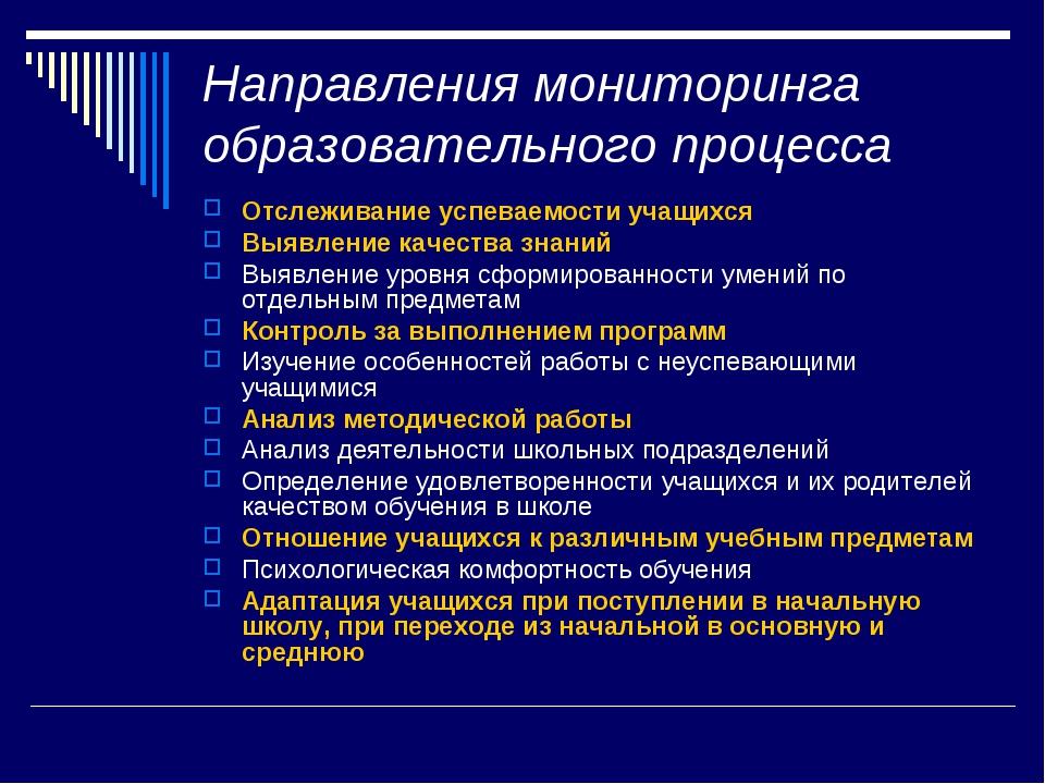 Направления мониторинга образовательного процесса Отслеживание успеваемости у...