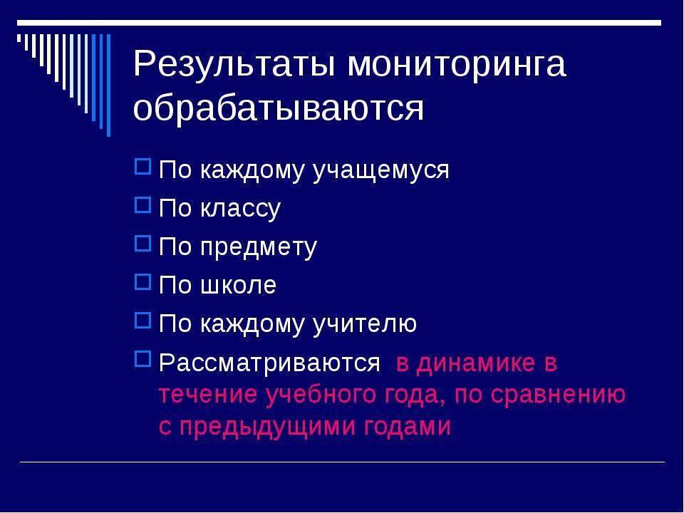 Результаты мониторинга обрабатываются По каждому учащемуся По классу По предм...