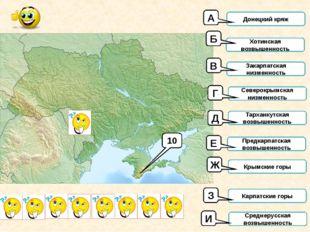 10 Донецкий кряж Хотинская возвышенность Закарпатская низменность Северокрымс