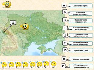 11 Донецкий кряж Хотинская возвышенность Закарпатская низменность Северокрымс