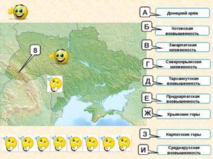 8 Донецкий кряж Хотинская возвышенность Закарпатская низменность Северокрымск
