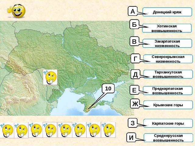 10 Донецкий кряж Хотинская возвышенность Закарпатская низменность Северокрымс...