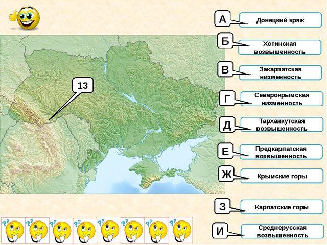 13 Донецкий кряж Хотинская возвышенность Закарпатская низменность Северокрымс...