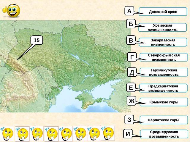 15 Донецкий кряж Хотинская возвышенность Закарпатская низменность Северокрымс...