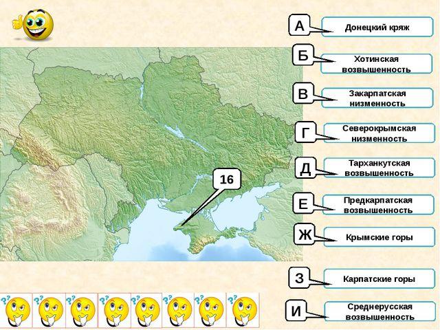 16 Донецкий кряж Хотинская возвышенность Закарпатская низменность Северокрымс...