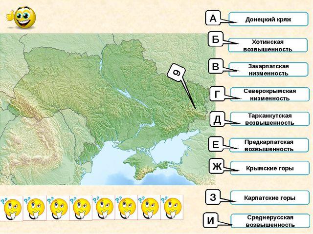 9 Донецкий кряж Хотинская возвышенность Закарпатская низменность Северокрымск...