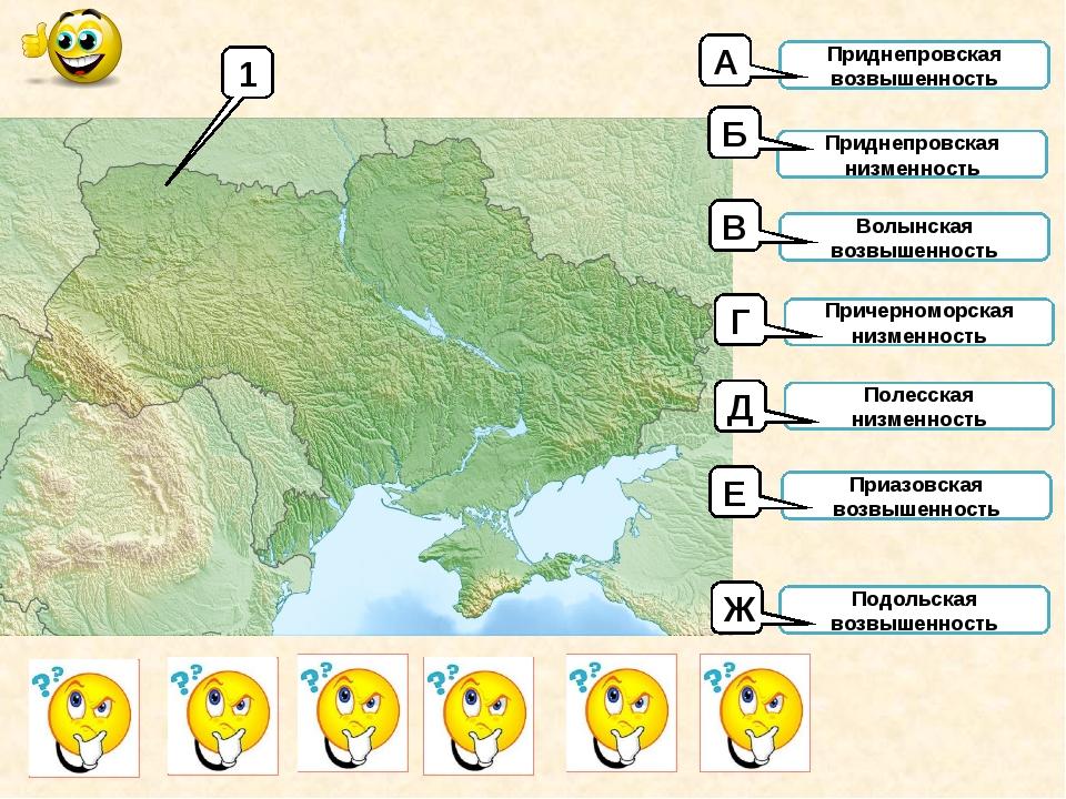 1 Приднепровская возвышенность Приднепровская низменность Волынская возвышенн...