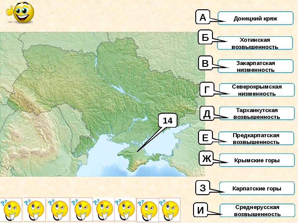 14 Донецкий кряж Хотинская возвышенность Закарпатская низменность Северокрымс...