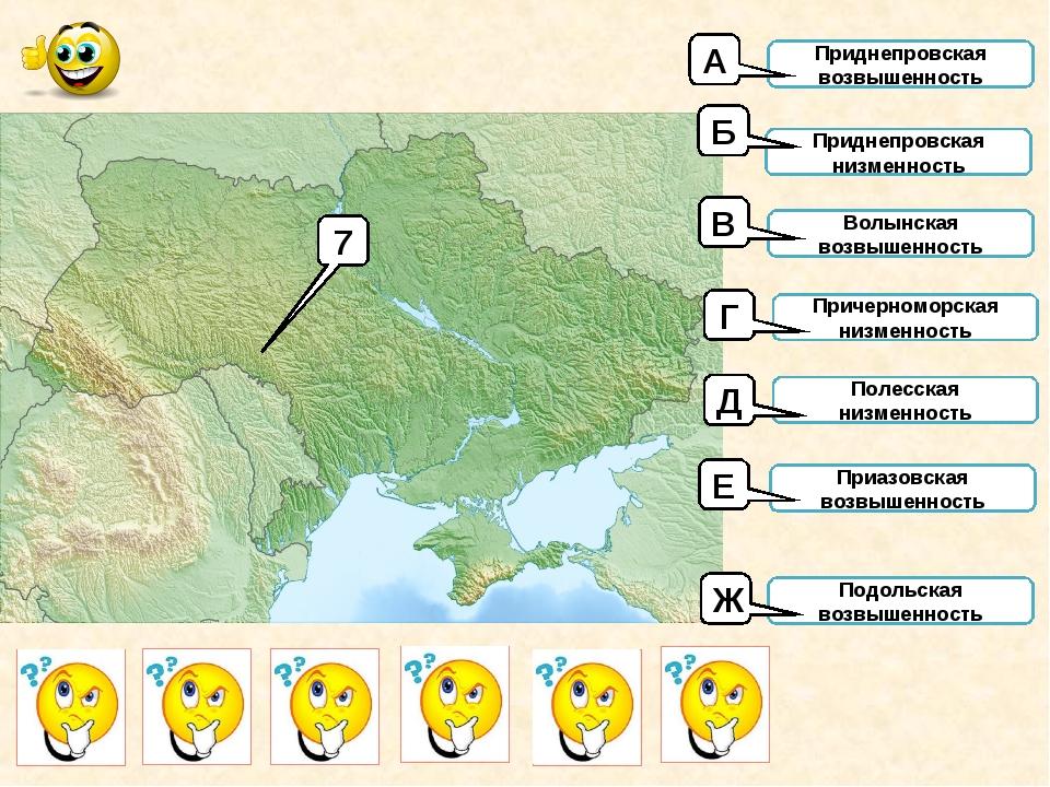 7 Приднепровская возвышенность Приднепровская низменность Волынская возвышенн...