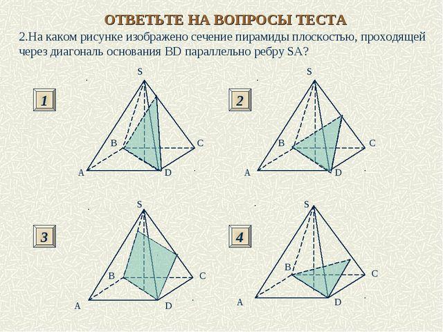 2.На каком рисунке изображено сечение пирамиды плоскостью, проходящей через д...