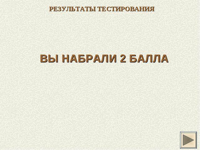 РЕЗУЛЬТАТЫ ТЕСТИРОВАНИЯ ВЫ НАБРАЛИ 2 БАЛЛА