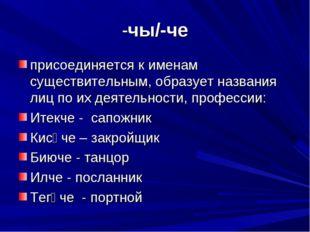 -чы/-че присоединяется к именам существительным, образует названия лиц по их