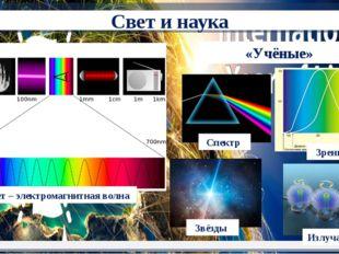 «Учёные» Свет – электромагнитная волна Спектр Звёзды Зрение Излучатели Свет