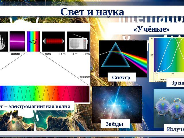 «Учёные» Свет – электромагнитная волна Спектр Звёзды Зрение Излучатели Свет...