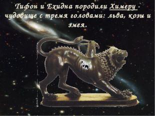 Тифон и Ехидна породили Химеру - чудовище с тремя головами: льва, козы и змея.