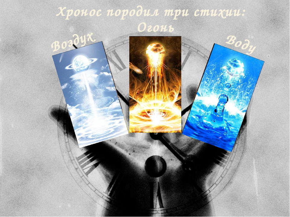 Хронос породил три стихии: Огонь Воздух Воду
