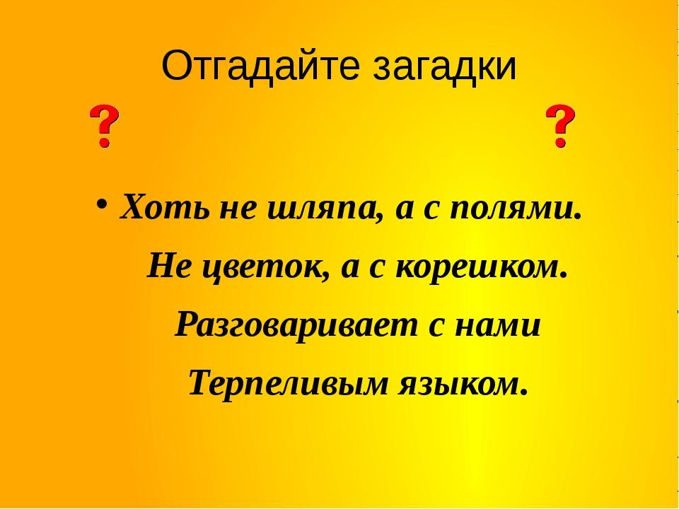 Отгадайте загадки Хоть не шляпа, а с полями. Не цветок, а с корешком. Разгова...