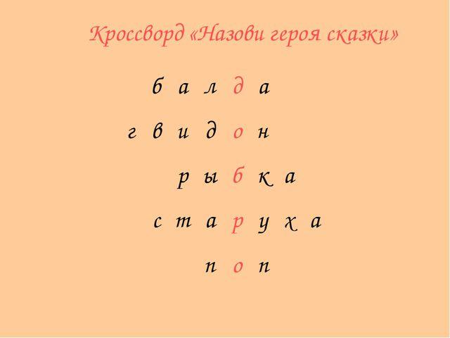 Кроссворд «Назови героя сказки» балда гвидон рыбка ст...