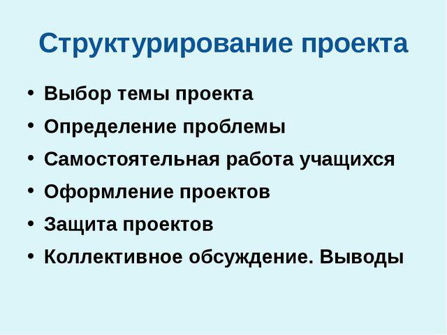 Структурирование проекта Выбор темы проекта Определение проблемы Самостоятель...
