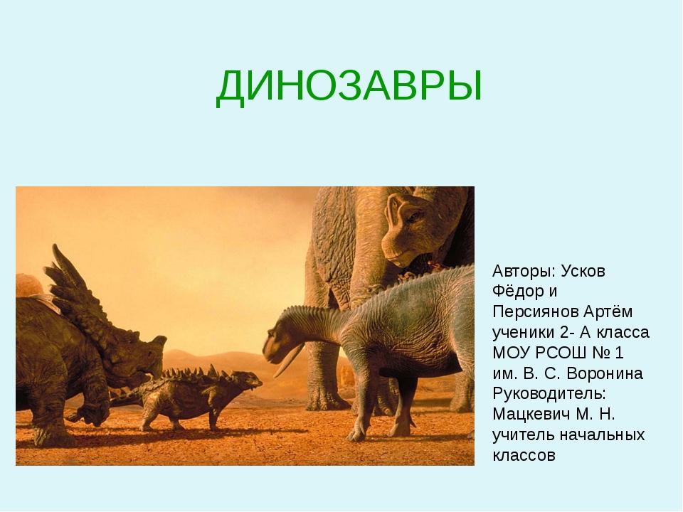 ДИНОЗАВРЫ Авторы: Усков Фёдор и Персиянов Артём ученики 2- А класса МОУ РСОШ...