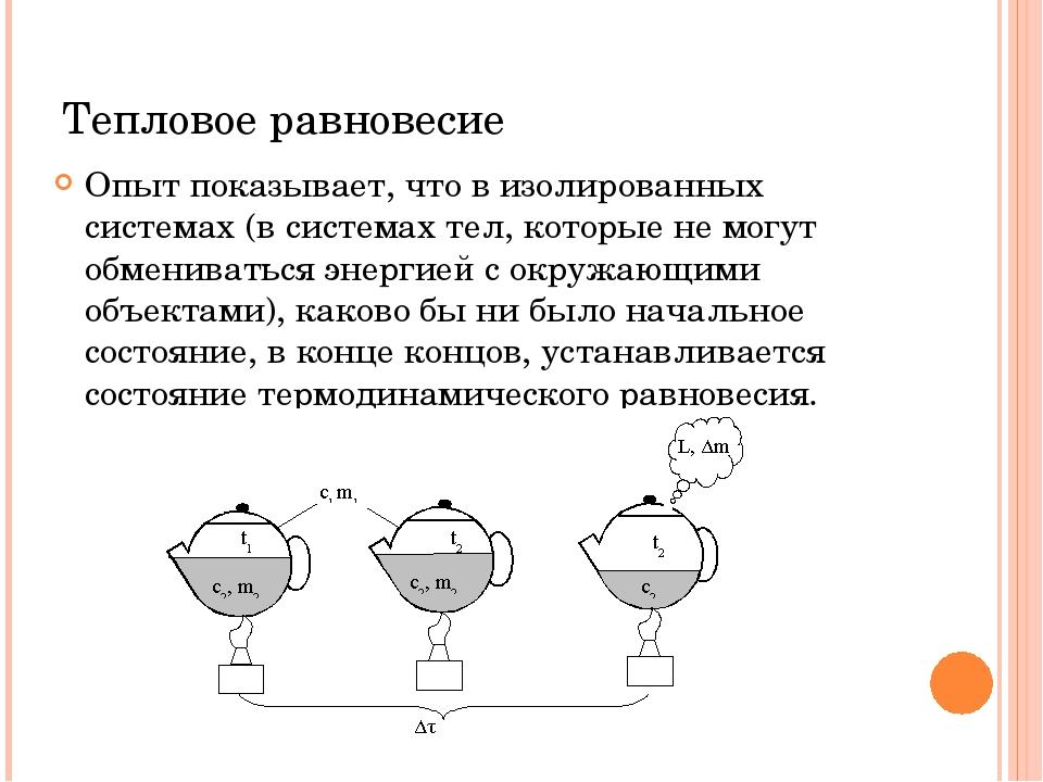 Тепловое равновесие Опыт показывает, что в изолированных системах (в системах...