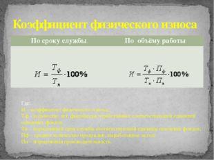 Коэффициент физического износа Где: И – коэффициент физического износа; Тф –