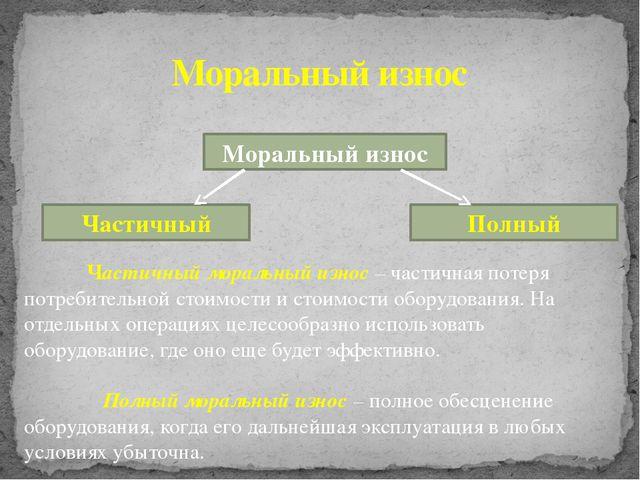 Моральный износ Моральный износ Частичный Полный Частичный моральный износ –...