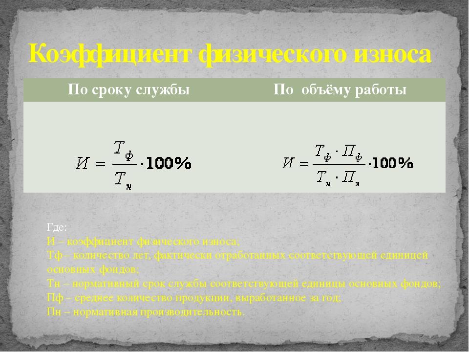 Коэффициент физического износа Где: И – коэффициент физического износа; Тф –...