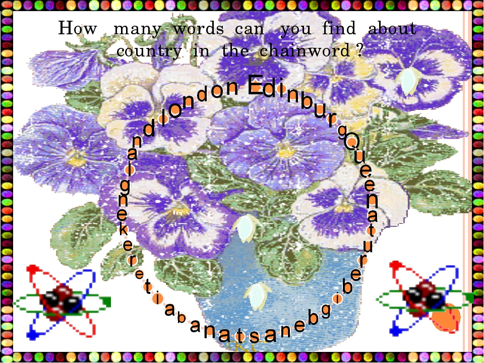 How many words can you find about country in the chainword ?