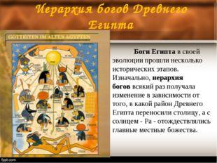 Иерархия богов Древнего Египта Боги Египтав своей эволюции прошли несколько