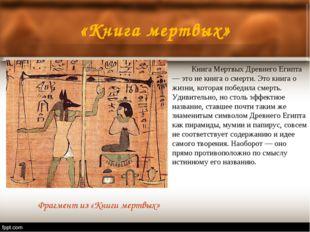 «Книга мертвых» Книга Мертвых Древнего Египта — это не книга о смерти. Это