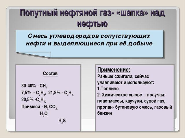 Органическая химия 10 класс * Попутный нефтяной газ- «шапка» над нефтью Смесь...