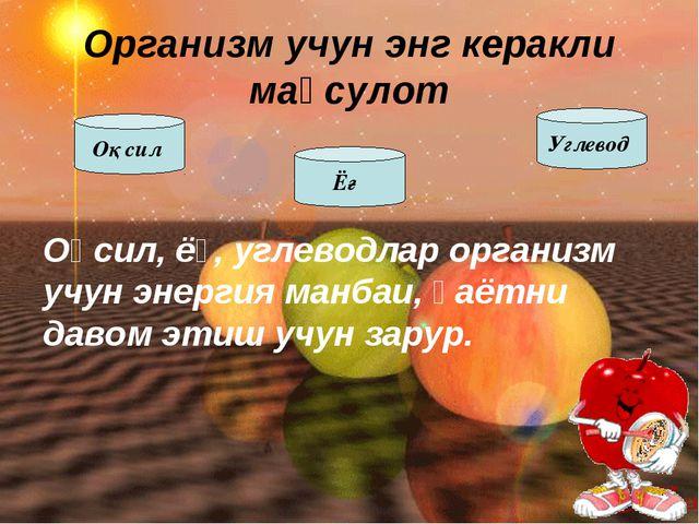 Оқсил, ёғ, углеводлар организм учун энергия манбаи, ҳаётни давом этиш учун за...
