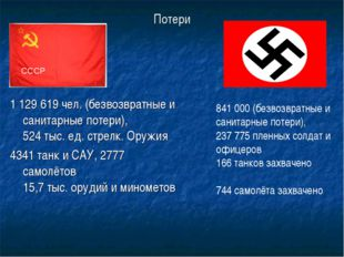 Потери 1129619 чел. (безвозвратные и санитарные потери), 524 тыс. ед. стрел