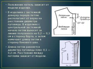Положение петель зависит от модели изделия. В изделиях с застежкой доверху пе