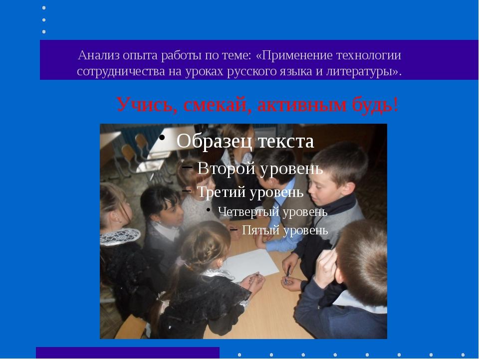 Анализ опыта работы по теме: «Применение технологии сотрудничества на уроках...