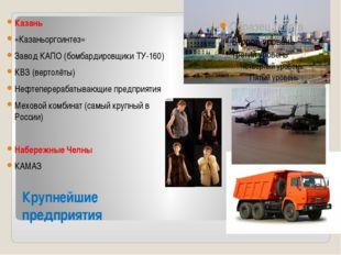 Крупнейшие предприятия Казань «Казаньоргсинтез» Завод КАПО (бомбардировщики Т