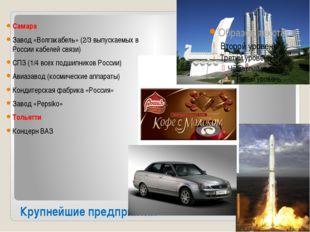 Крупнейшие предприятия Самара Завод «Волгакабель» (2/3 выпускаемых в России к