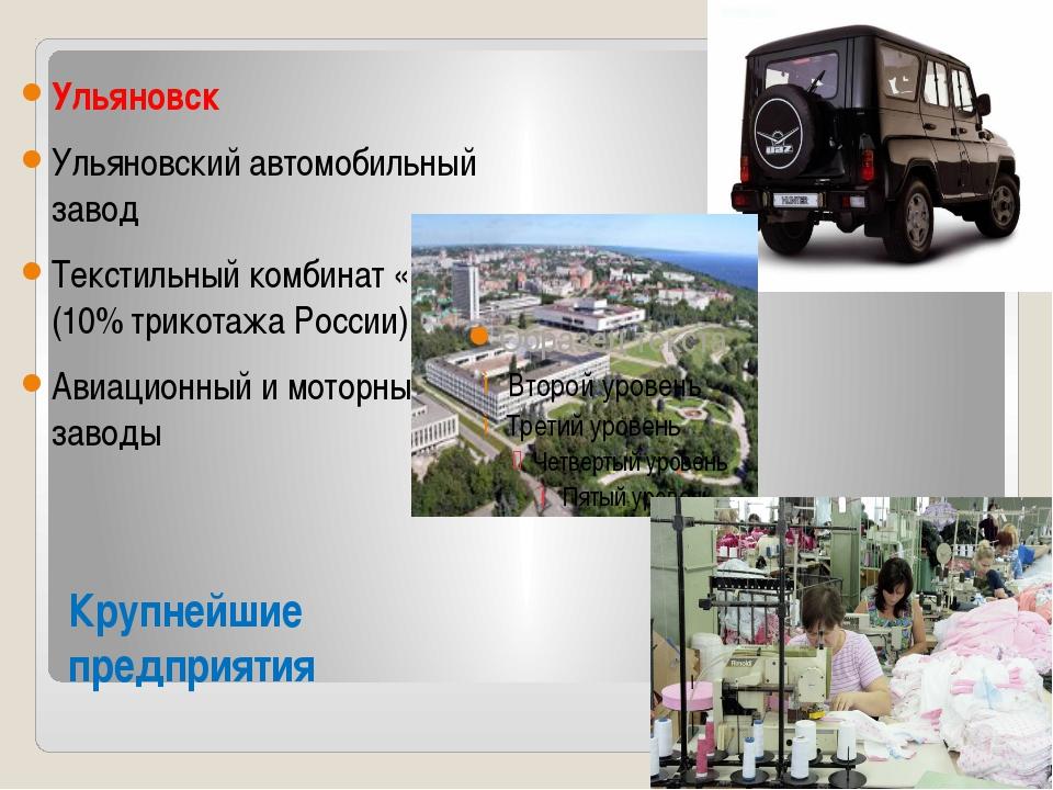 Крупнейшие предприятия Ульяновск Ульяновский автомобильный завод Текстильный...